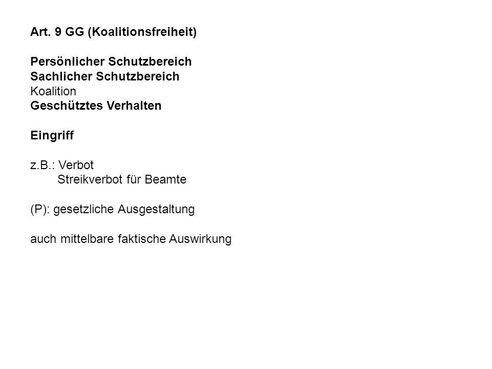 Art. 9 GG (Koalitionsfreiheit)