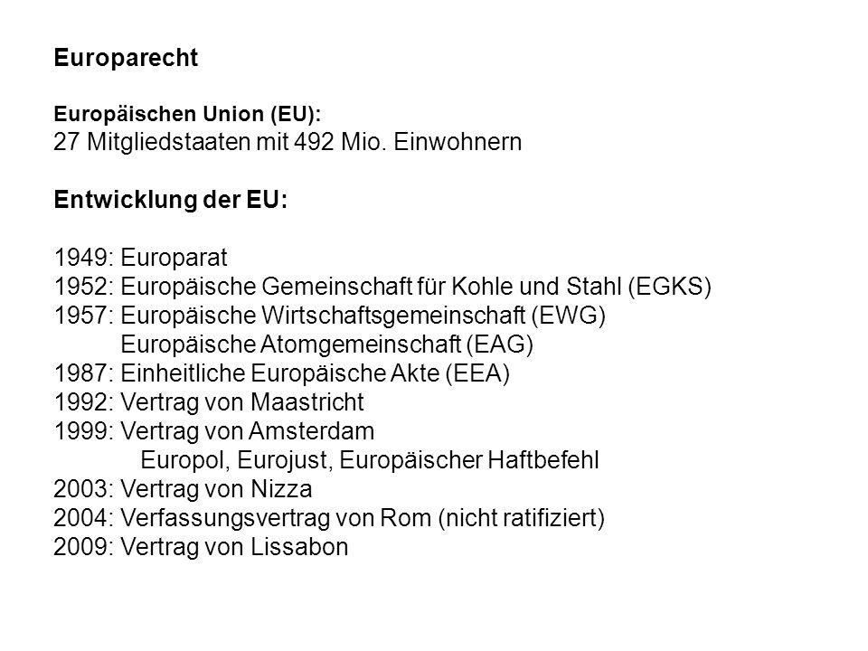 27 Mitgliedstaaten mit 492 Mio. Einwohnern Entwicklung der EU: