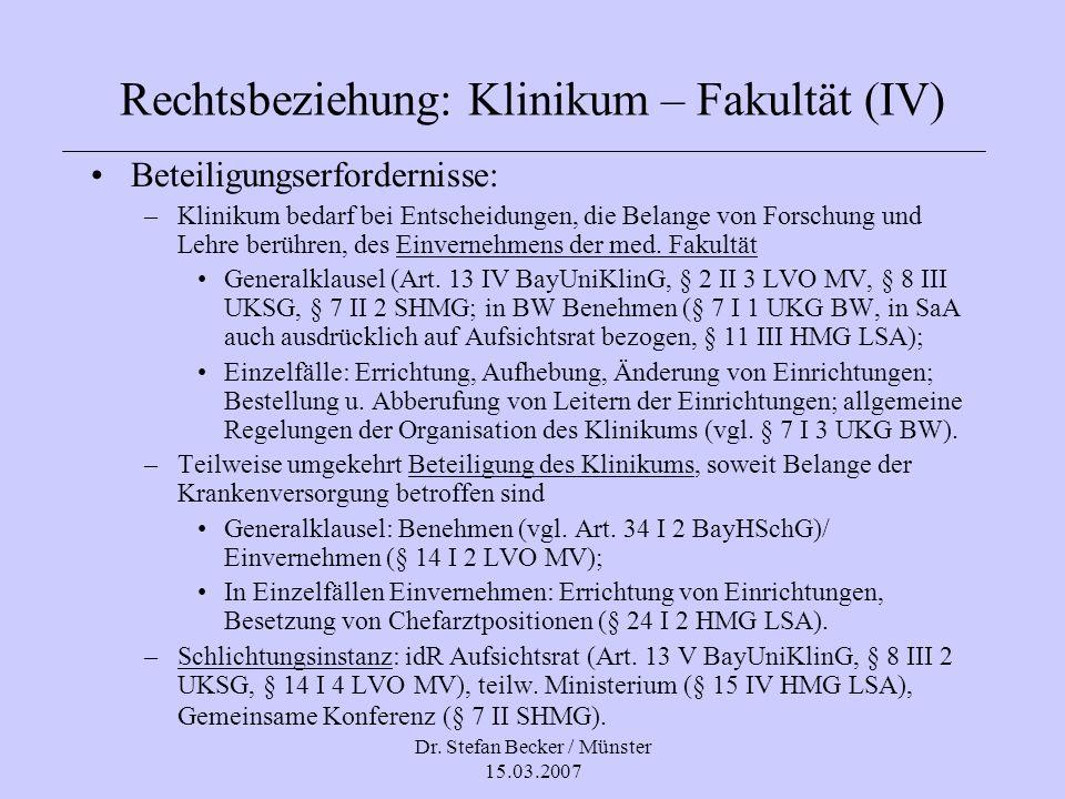Rechtsbeziehung: Klinikum – Fakultät (IV)