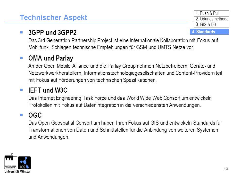 Technischer Aspekt 3GPP und 3GPP2 OMA und Parlay IEFT und W3C OGC