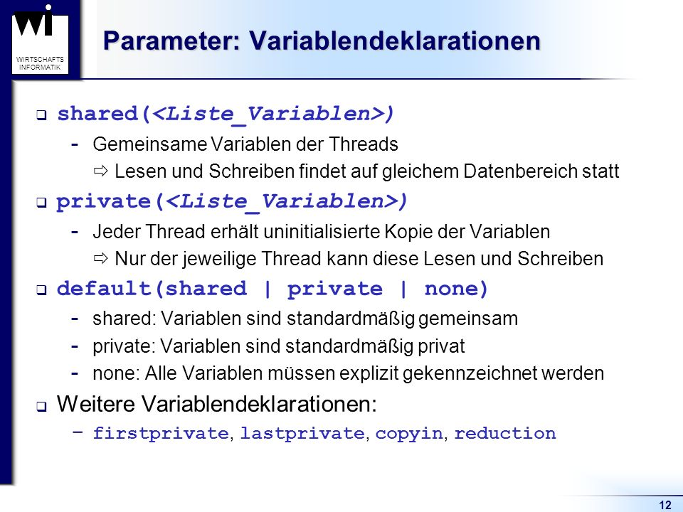 Parameter: Variablendeklarationen