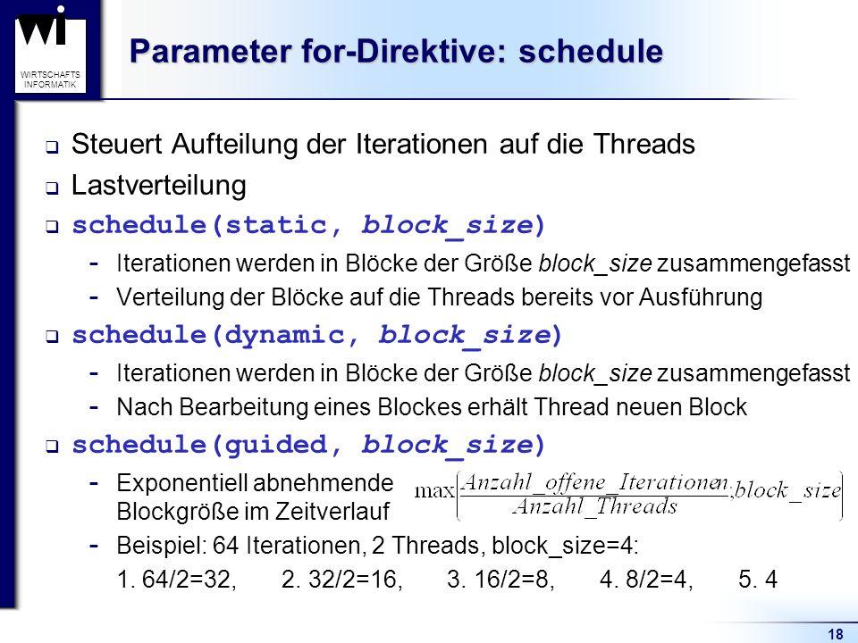 Parameter for-Direktive: schedule