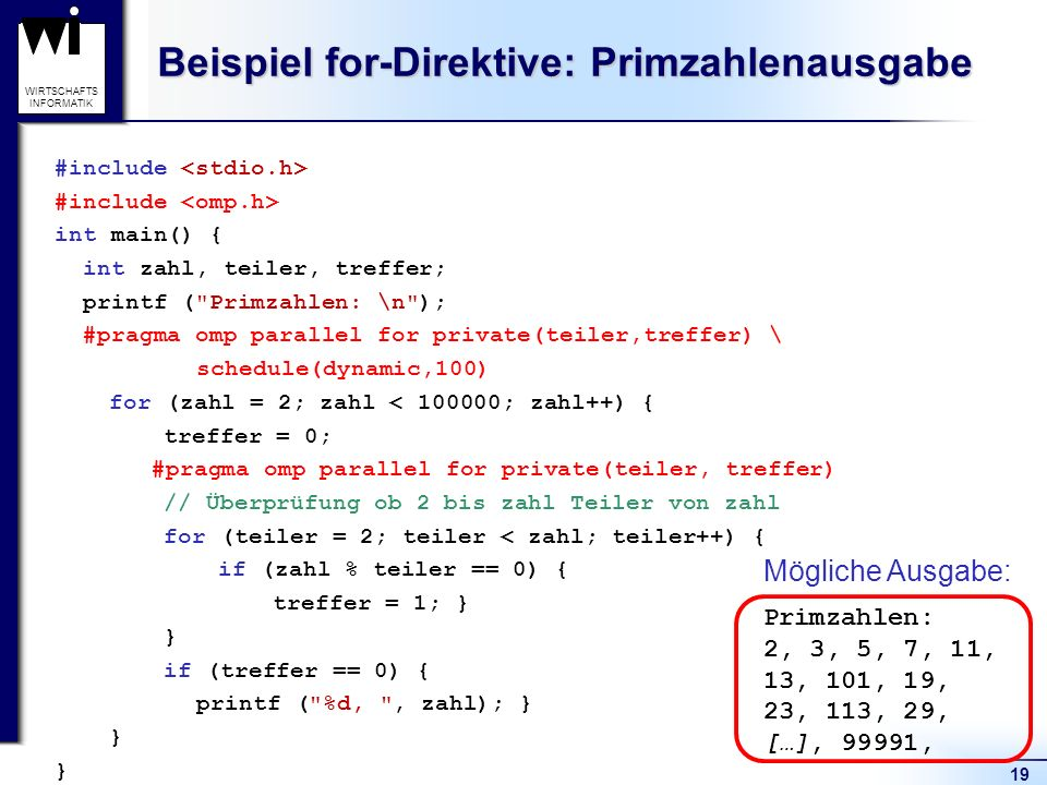 Beispiel for-Direktive: Primzahlenausgabe