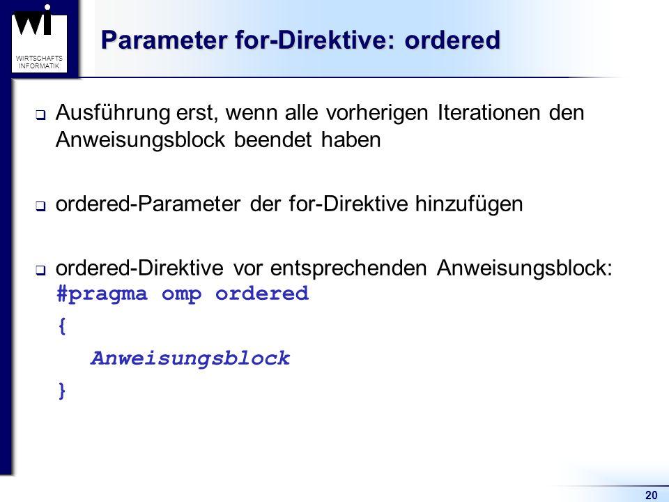 Parameter for-Direktive: ordered