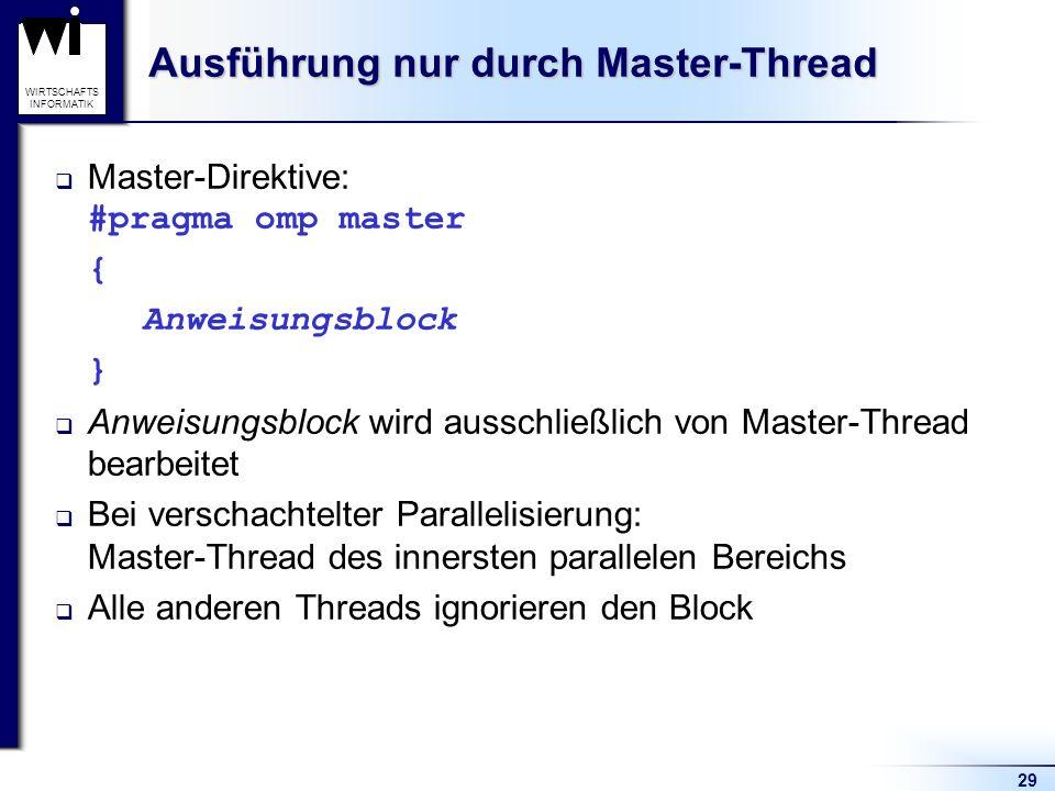 Ausführung nur durch Master-Thread