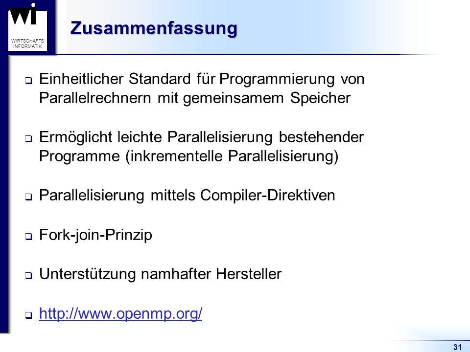 Zusammenfassung Einheitlicher Standard für Programmierung von Parallelrechnern mit gemeinsamem Speicher.