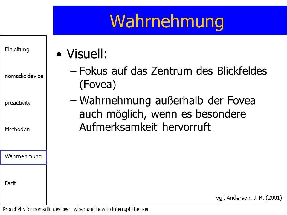 Wahrnehmung Visuell: Fokus auf das Zentrum des Blickfeldes (Fovea)
