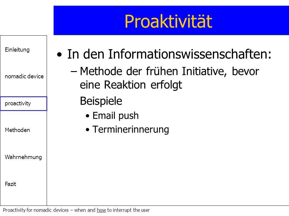 Proaktivität In den Informationswissenschaften: