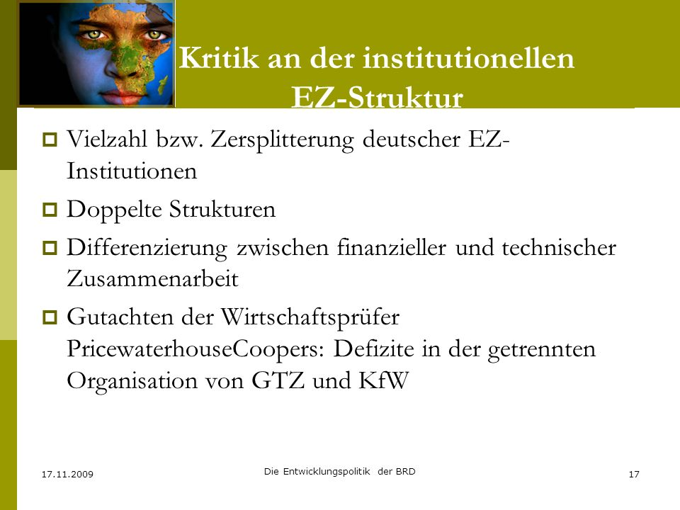 Kritik an der institutionellen EZ-Struktur