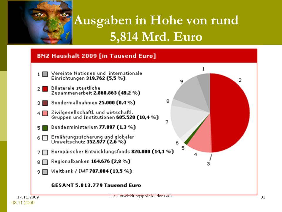 Ausgaben in Hohe von rund 5,814 Mrd. Euro