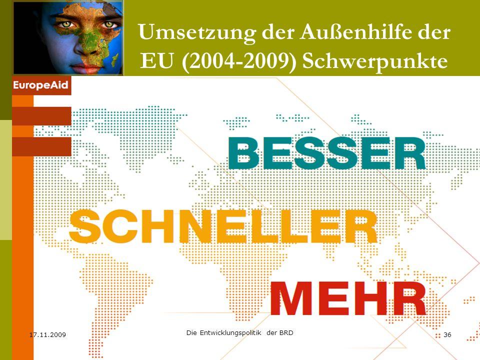 Umsetzung der Außenhilfe der EU (2004-2009) Schwerpunkte