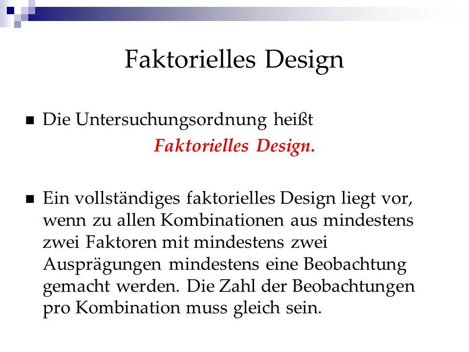 Faktorielles Design Die Untersuchungsordnung heißt