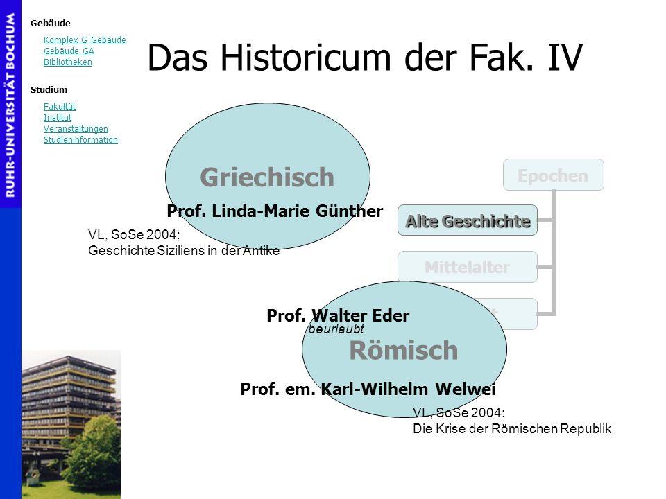 Das Historicum der Fak. IV