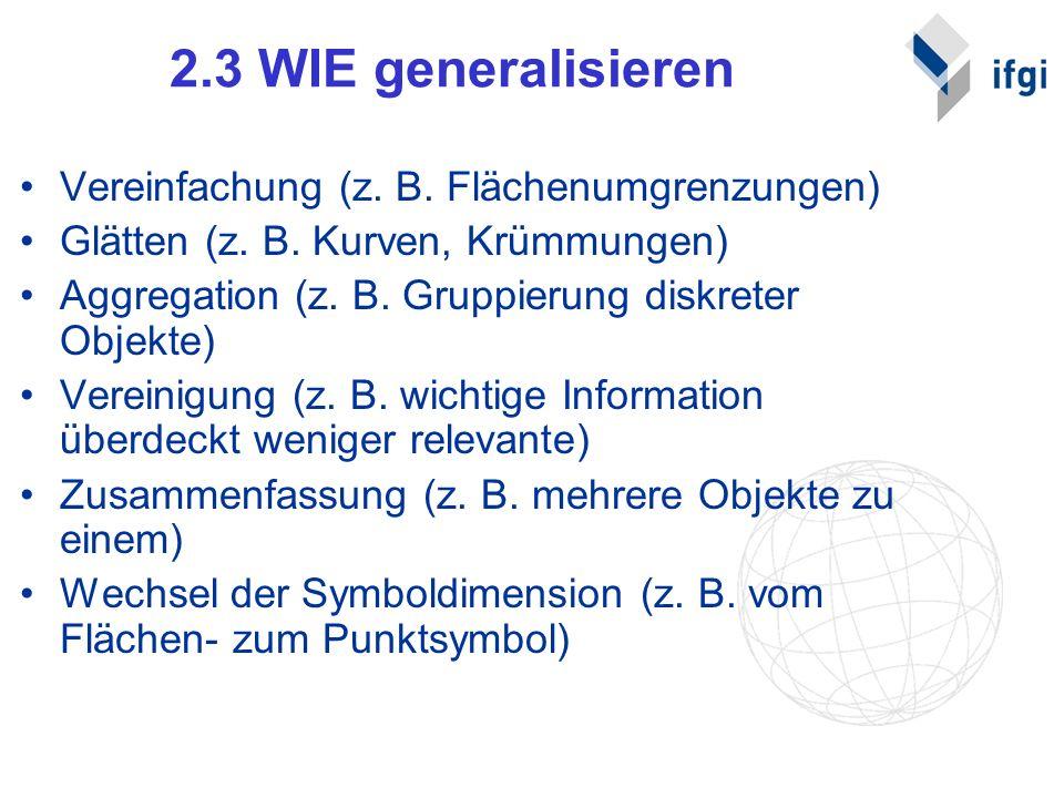 2.3 WIE generalisieren Vereinfachung (z. B. Flächenumgrenzungen)