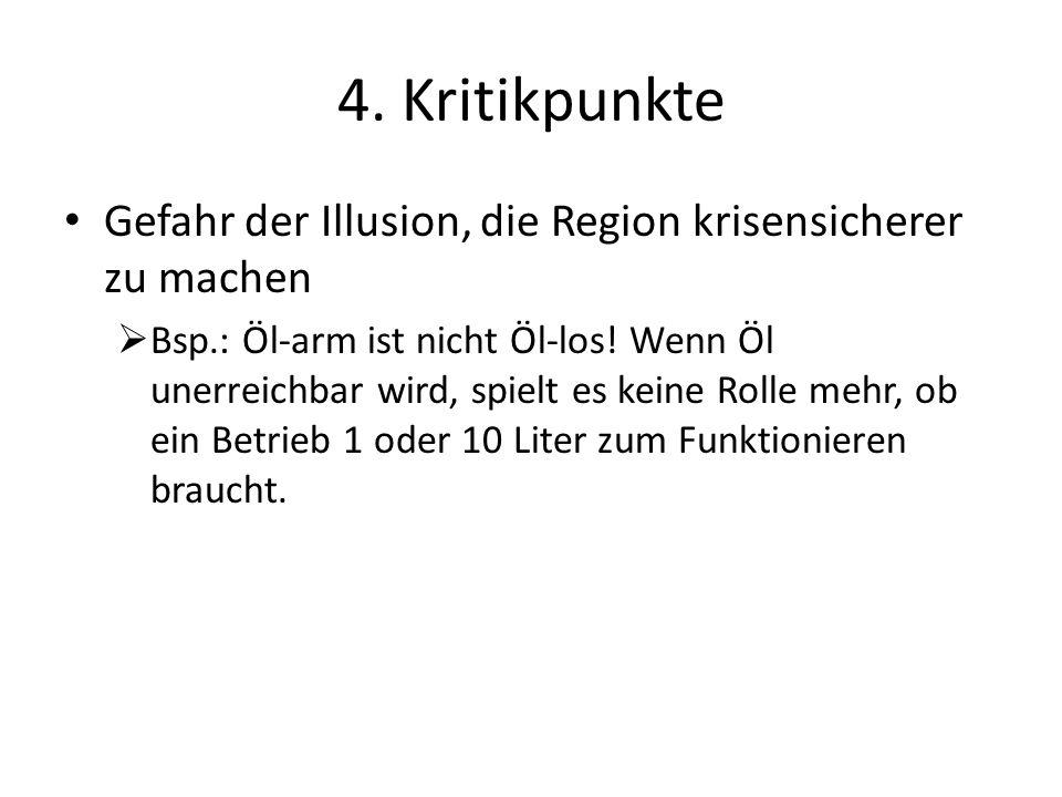 4. Kritikpunkte Gefahr der Illusion, die Region krisensicherer zu machen.