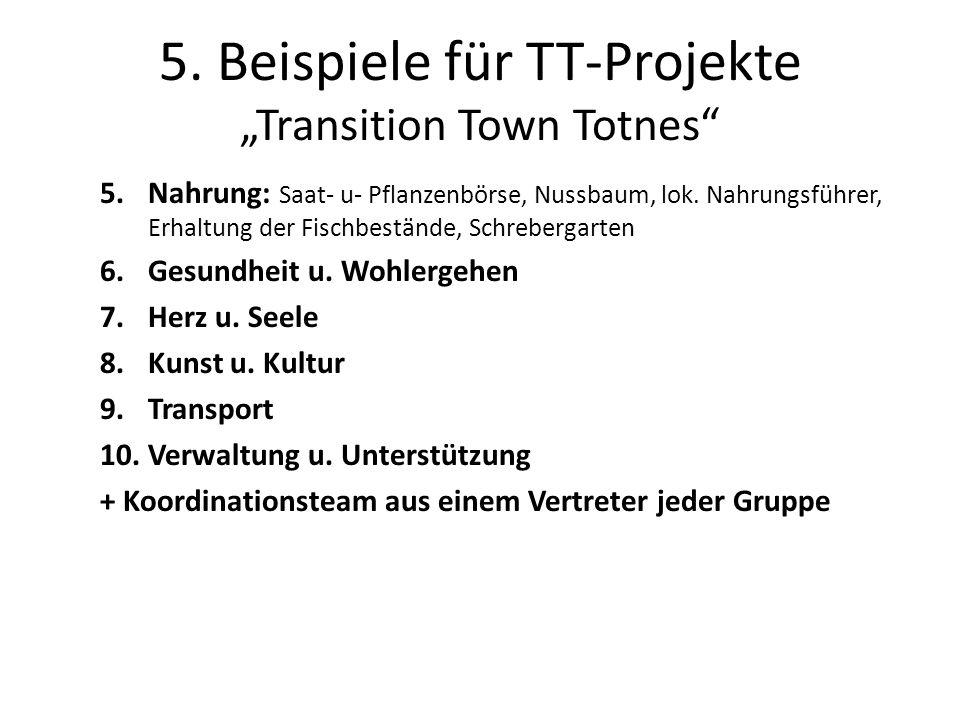 """5. Beispiele für TT-Projekte """"Transition Town Totnes"""