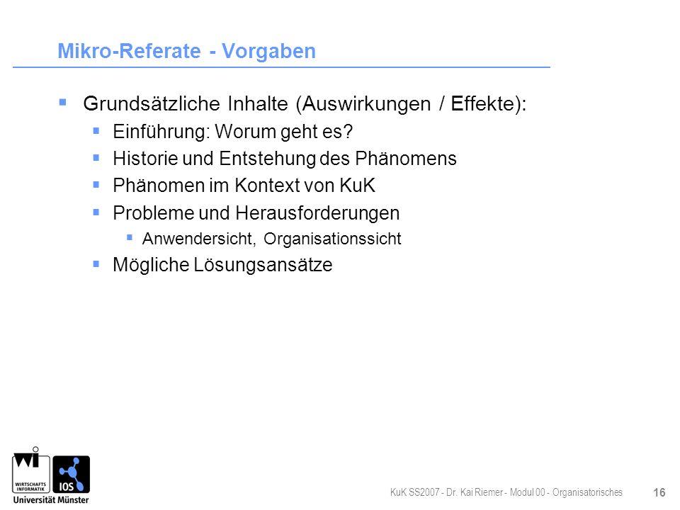 Mikro-Referate - Vorgaben