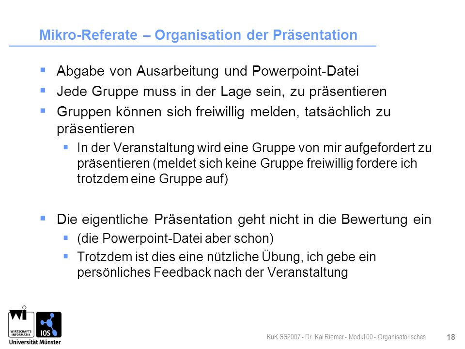 Mikro-Referate – Organisation der Präsentation