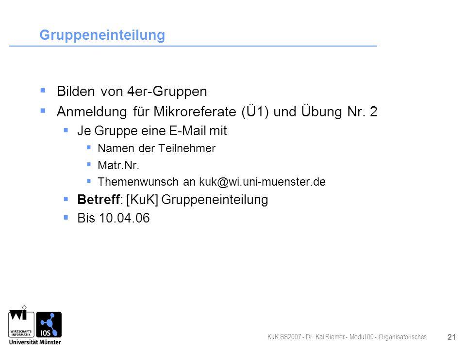 Anmeldung für Mikroreferate (Ü1) und Übung Nr. 2