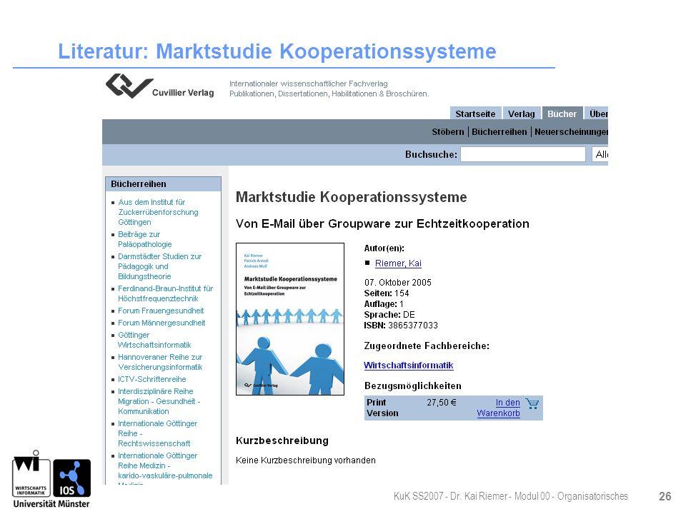 Literatur: Marktstudie Kooperationssysteme