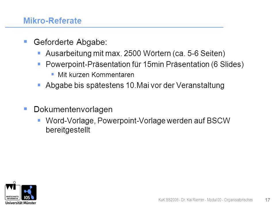 Mikro-Referate Geforderte Abgabe: Dokumentenvorlagen