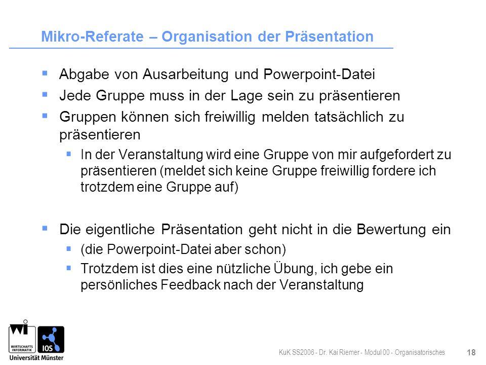 Mikro-Referate – Organisation der Präsentation