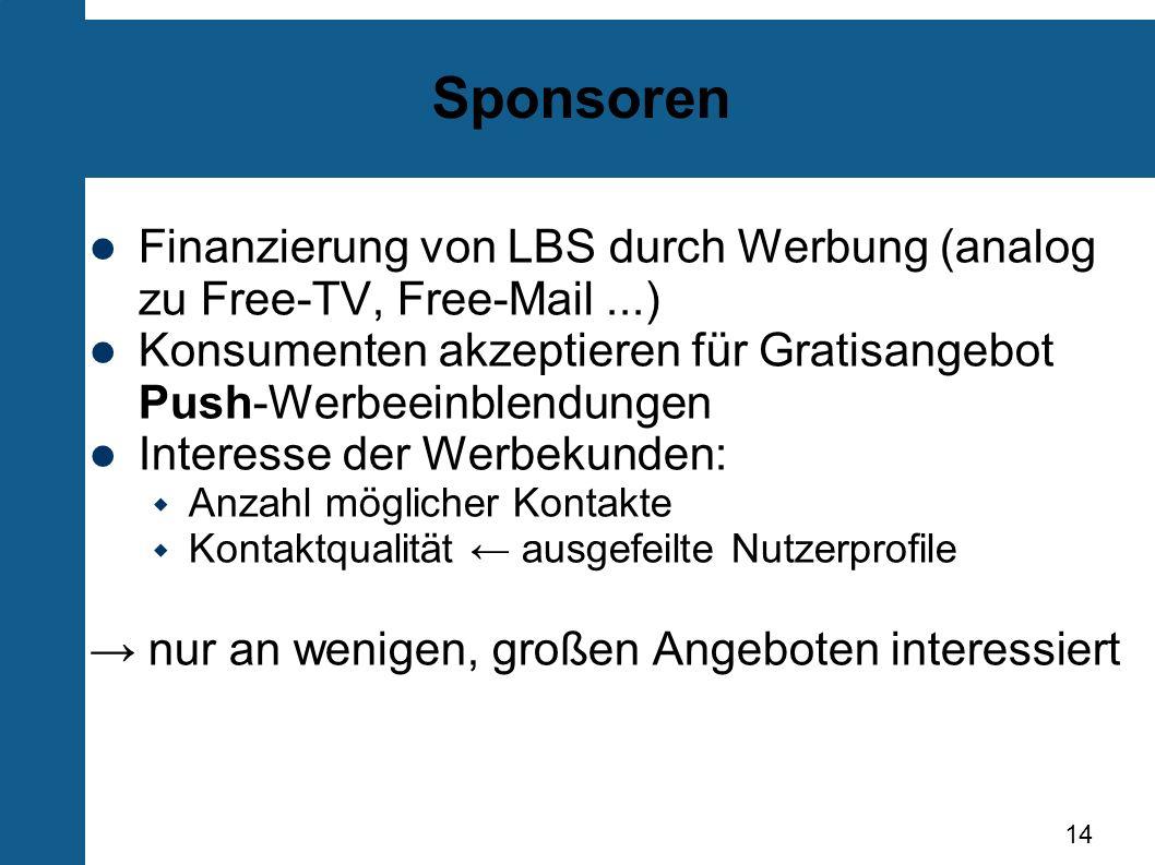 Sponsoren Finanzierung von LBS durch Werbung (analog zu Free-TV, Free-Mail ...) Konsumenten akzeptieren für Gratisangebot Push-Werbeeinblendungen.