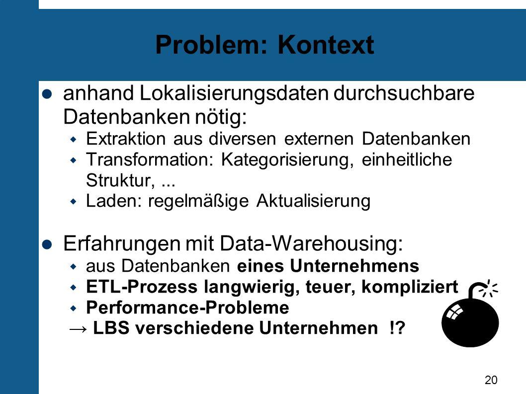 Problem: Kontext anhand Lokalisierungsdaten durchsuchbare Datenbanken nötig: Extraktion aus diversen externen Datenbanken.