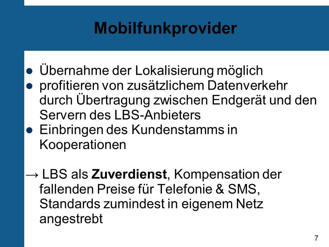 Mobilfunkprovider Übernahme der Lokalisierung möglich
