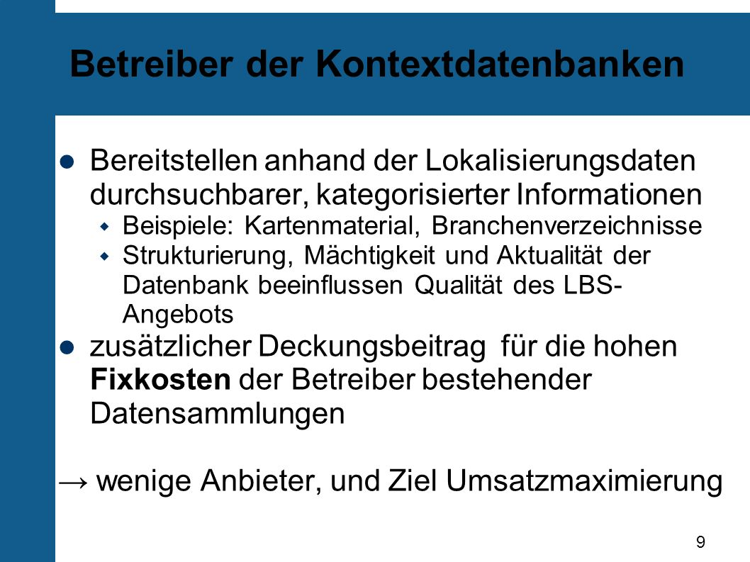 Betreiber der Kontextdatenbanken