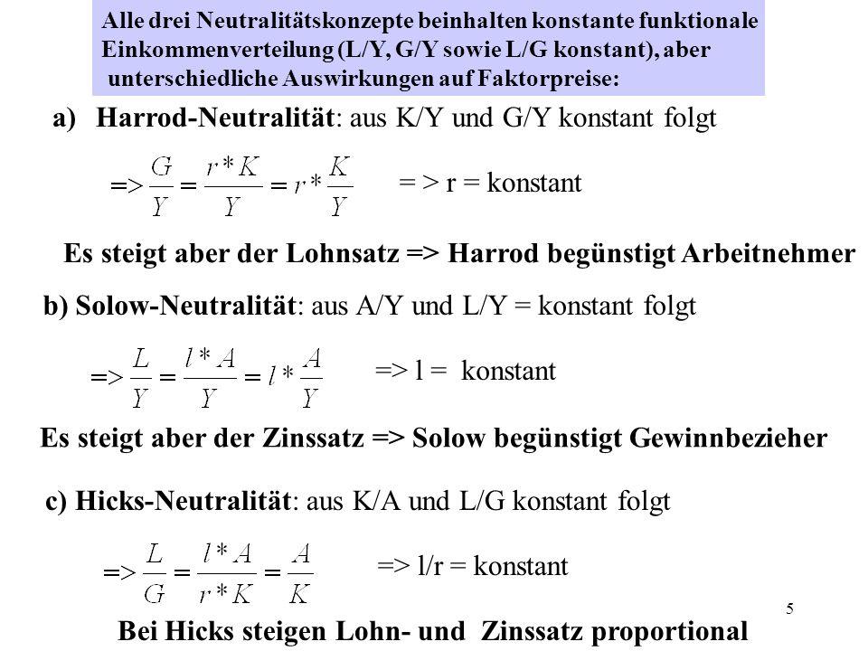 Harrod-Neutralität: aus K/Y und G/Y konstant folgt