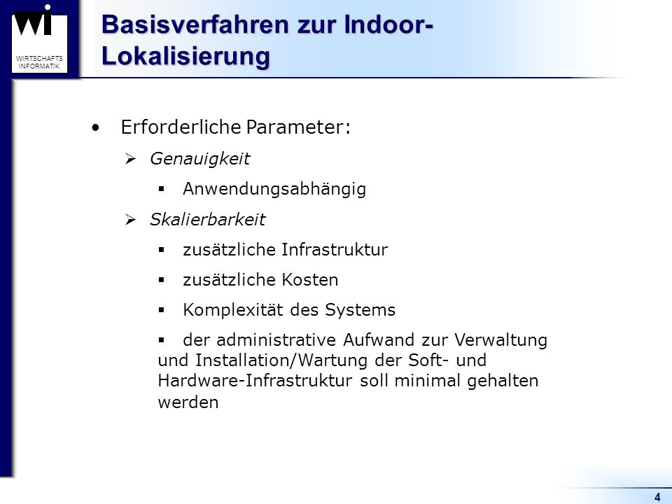 Basisverfahren zur Indoor-Lokalisierung