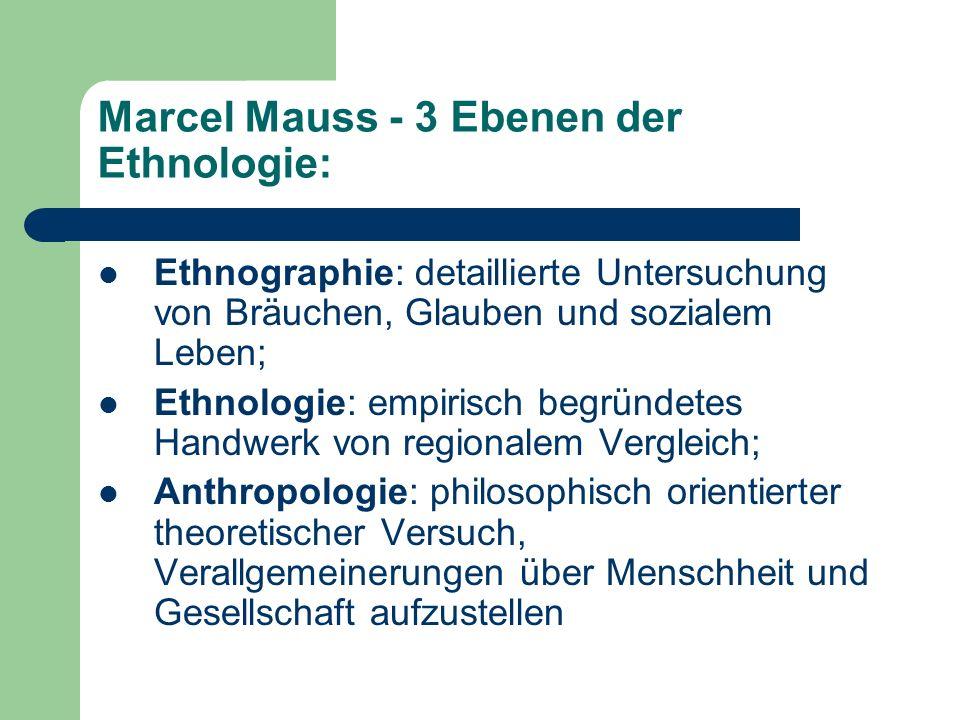 Marcel Mauss - 3 Ebenen der Ethnologie: