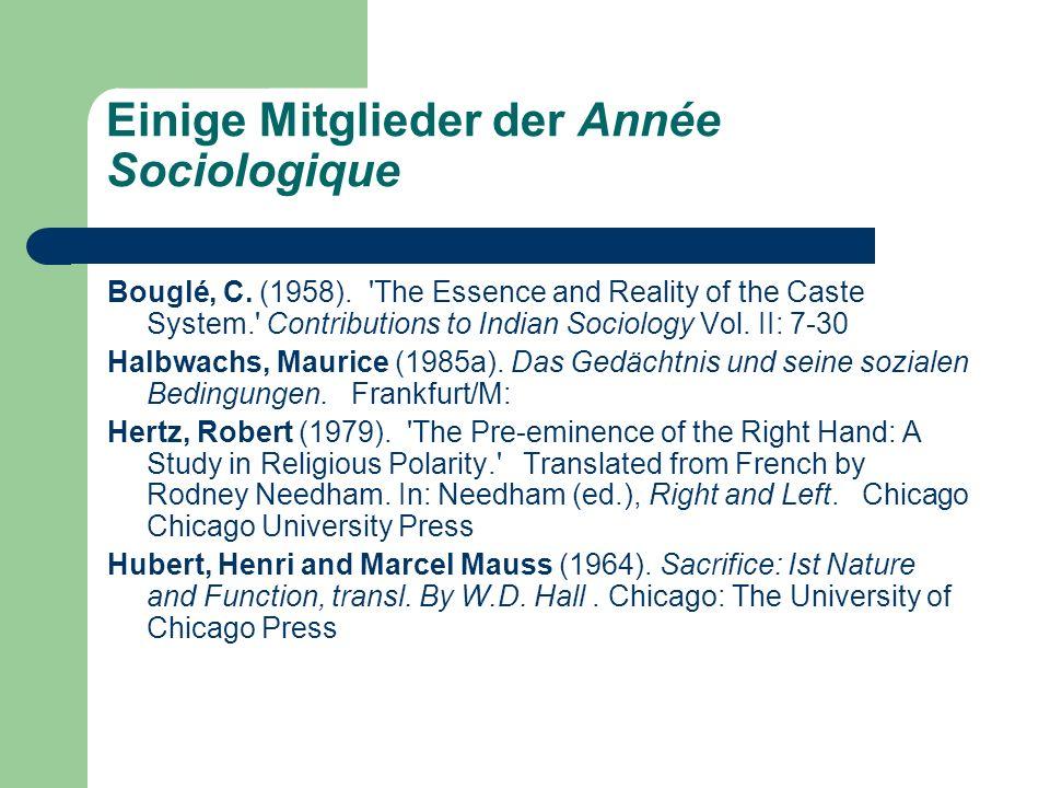 Einige Mitglieder der Année Sociologique