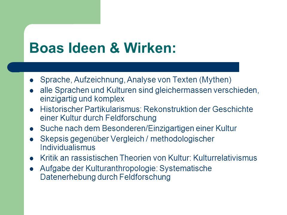 Boas Ideen & Wirken: Sprache, Aufzeichnung, Analyse von Texten (Mythen)