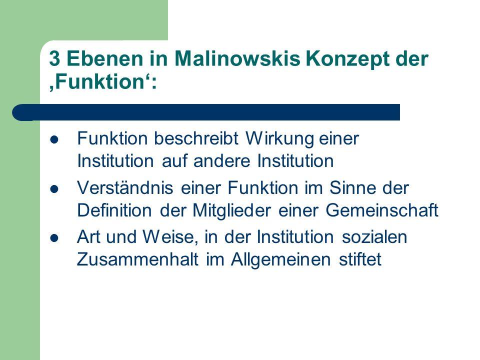 3 Ebenen in Malinowskis Konzept der 'Funktion':