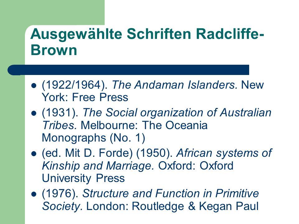 Ausgewählte Schriften Radcliffe-Brown