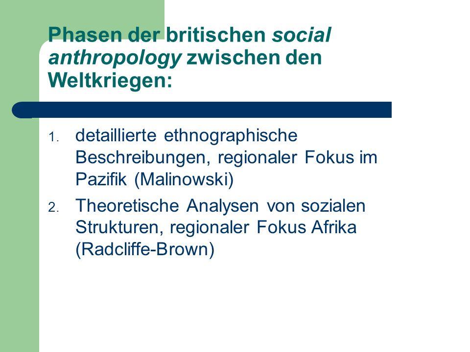 Phasen der britischen social anthropology zwischen den Weltkriegen: