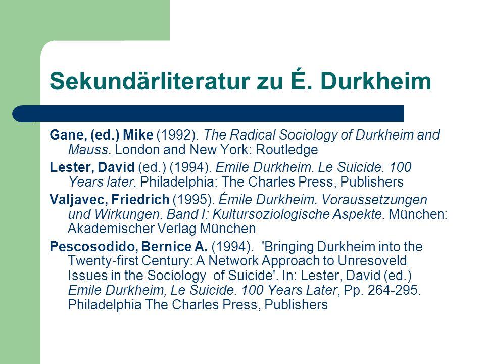 Sekundärliteratur zu É. Durkheim