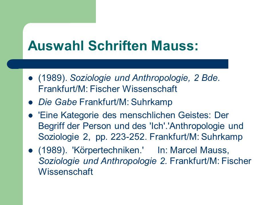 Auswahl Schriften Mauss: