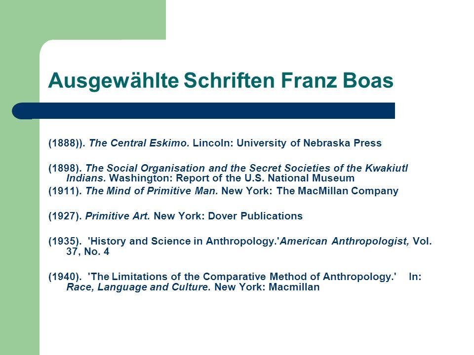 Ausgewählte Schriften Franz Boas