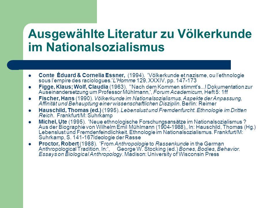 Ausgewählte Literatur zu Völkerkunde im Nationalsozialismus