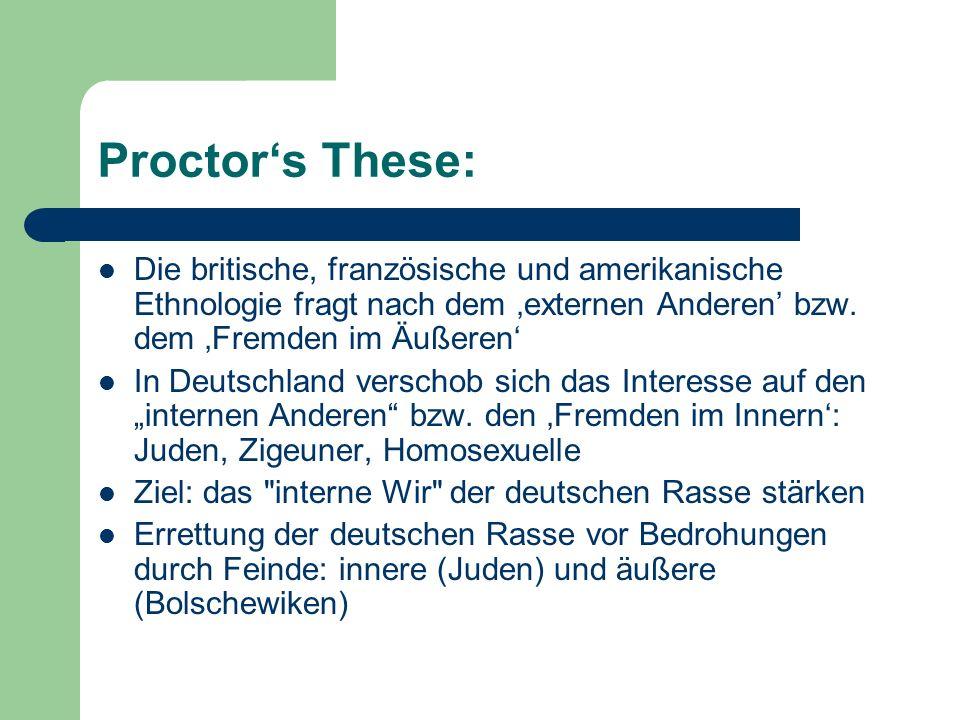 Proctor's These: Die britische, französische und amerikanische Ethnologie fragt nach dem 'externen Anderen' bzw. dem 'Fremden im Äußeren'