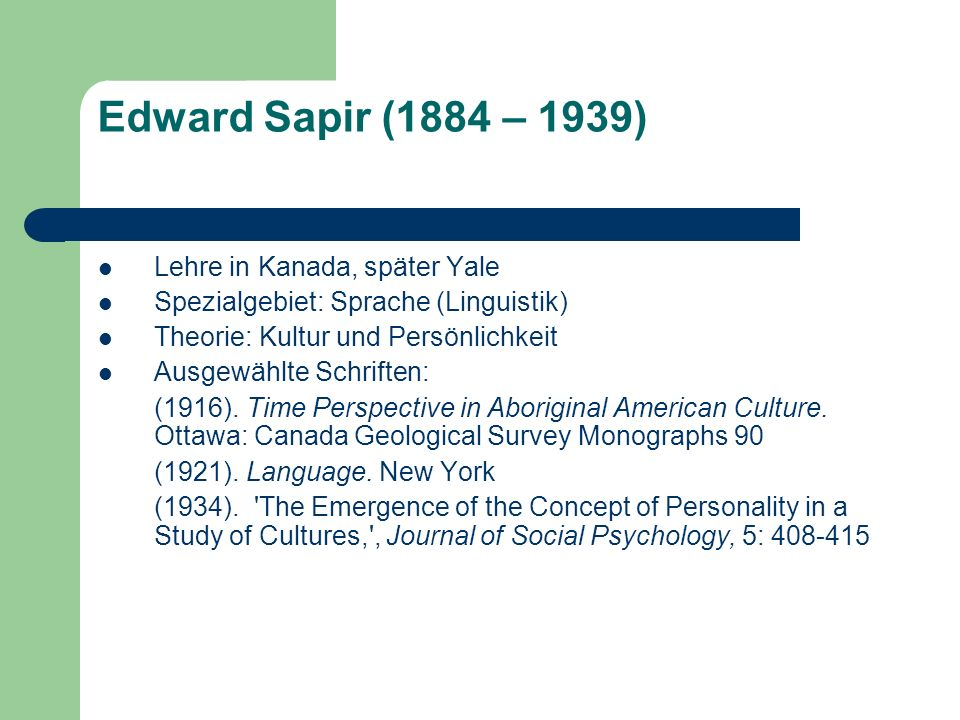 language culture and personality essays in memory of edward sapir Mead, perhaps the greatest student sapir did not want, developed a  in  language, culture and personality: essays in memory of edward.