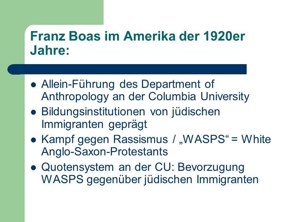 Franz Boas im Amerika der 1920er Jahre: