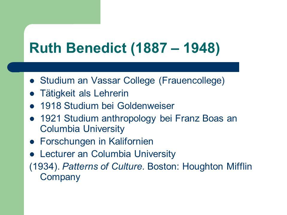Ruth Benedict (1887 – 1948) Studium an Vassar College (Frauencollege)