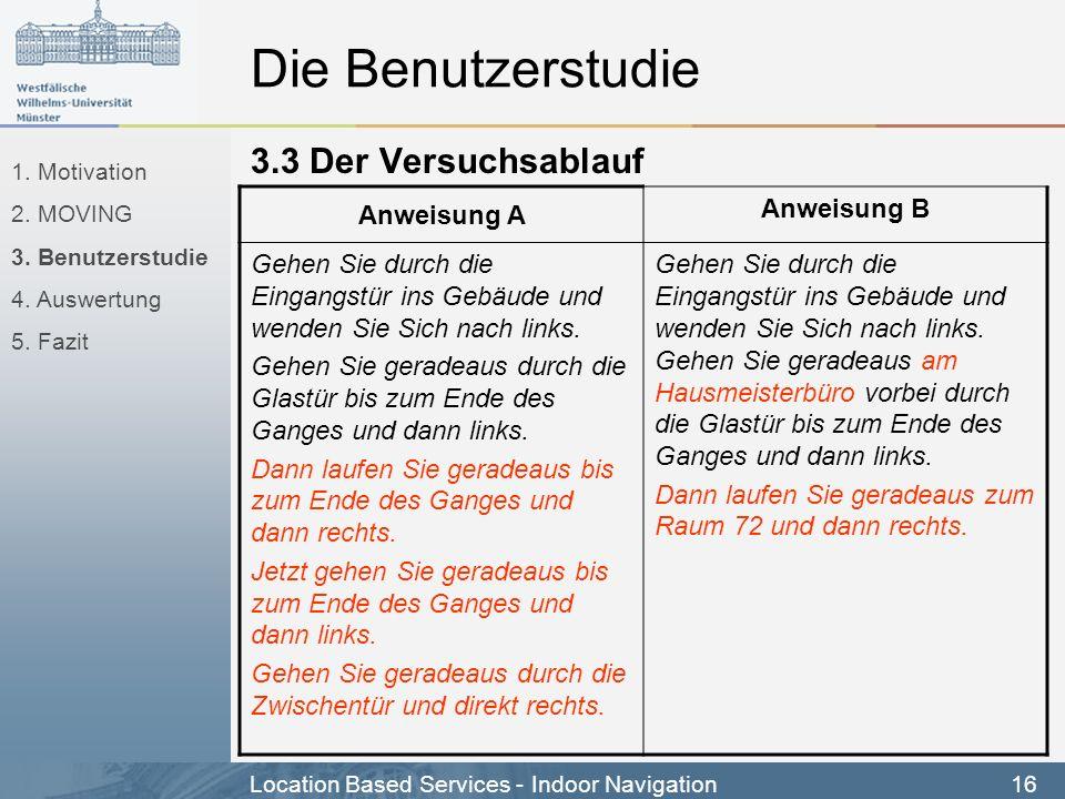 Die Benutzerstudie 3.3 Der Versuchsablauf Anweisung A Anweisung B