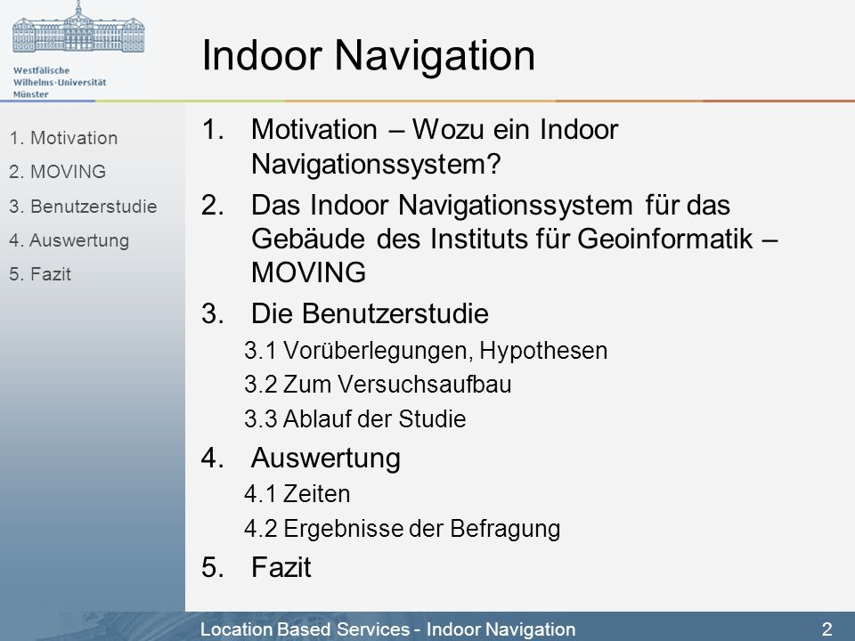 Indoor Navigation Motivation – Wozu ein Indoor Navigationssystem