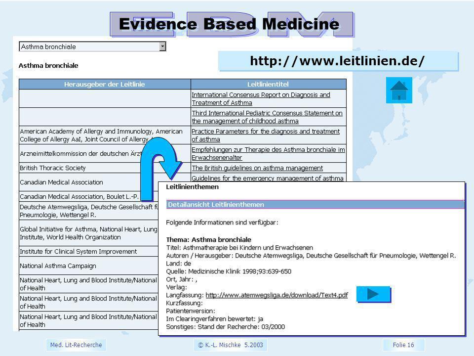 EBM Evidence Based Medicine http://www.leitlinien.de/