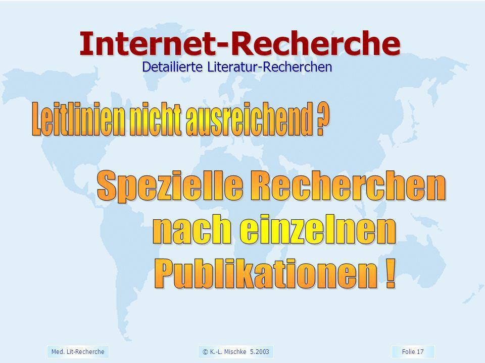Internet-Recherche Leitlinien nicht ausreichend Spezielle Recherchen